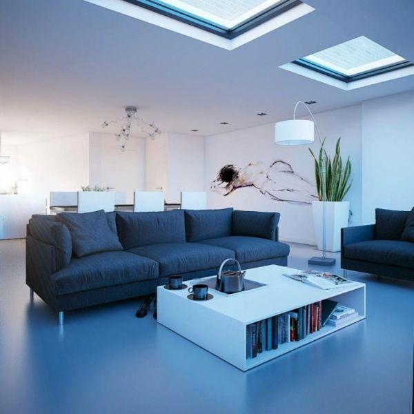 wohnzimmer weiß schwarz:Wohnzimmer Dachfenster Weiss Schwarz