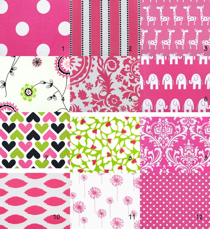 Custom boutique crib bedding using candy pink black and lime green
