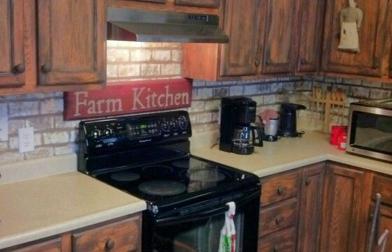 faux painted brick backsplash wooden products finish with style