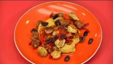 Baked Polenta With Sausage And Artichoke Hearts Recipe — Dishmaps