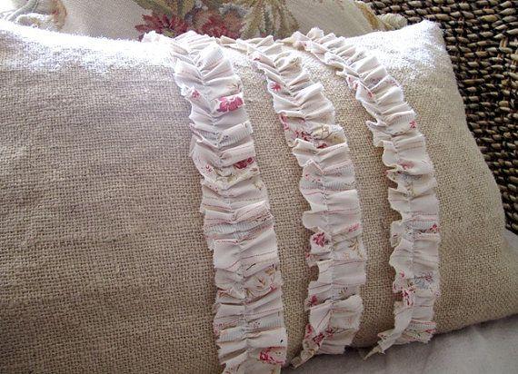 Shabby chic burlap pillow- diy