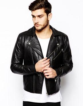 se Produkter Selected Broiche Leather Biker Jacket in Dark Green