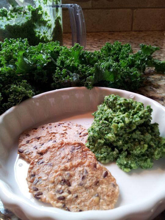 Kale pesto! Delicious. I've finally found a way to enjoy kale! I mixed ...