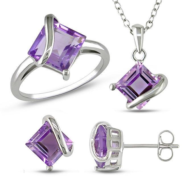 sterling silver amethyst jewelry set