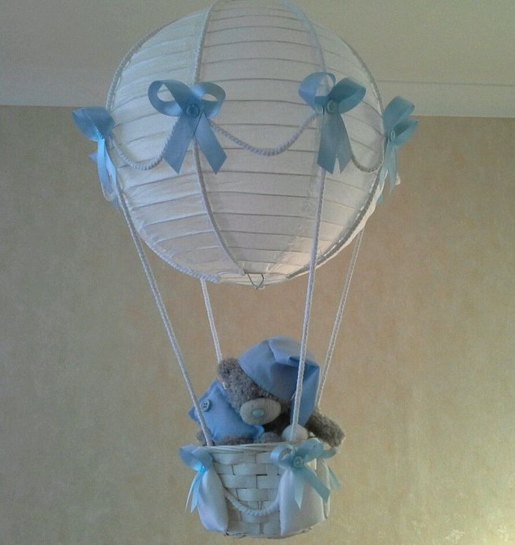 hot air balloon light lamp shade with tatty teddy for baby boy made. Black Bedroom Furniture Sets. Home Design Ideas