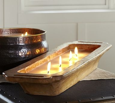 Filled Wooden Trough Candle #potterybarn