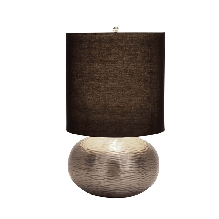 Brushed silver lamp with contrasting brown fabric shade.