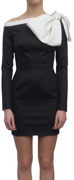 Valentino Woolen Dress with Rosette in Black