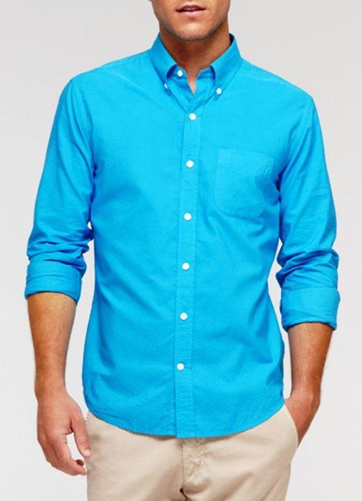 Vince Dress Button Down Shirt Aqua Blue Long Sleeve