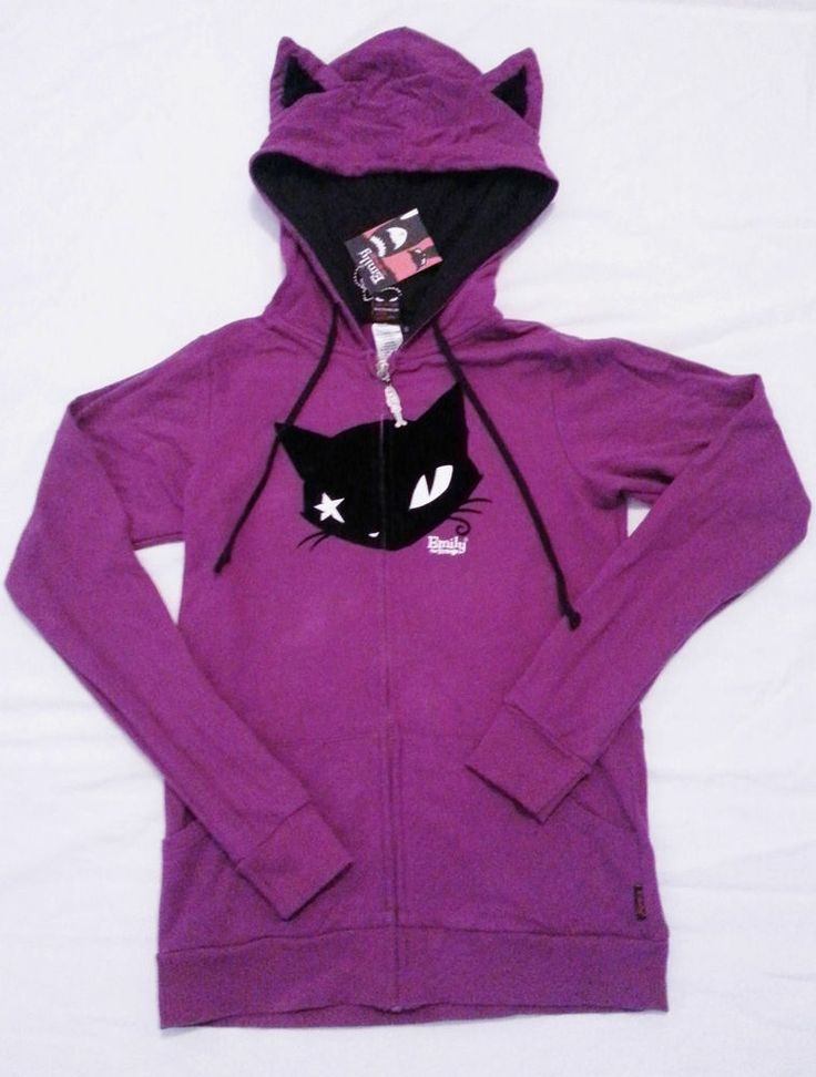 Emily The Strange NWT Mystery Cat Ear Hoodie Size Small Kitten Gothic