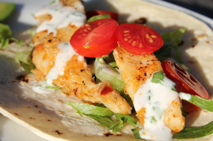 fish tacos with cilantro-lime sauce | recipes | Pinterest