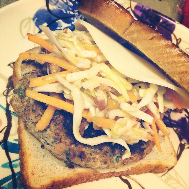 Turkey Patty Melt with Mango Chipotle slaw! Got the Turkey Burger ...