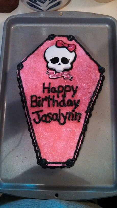 Pin coffin monster high fondant birthday cake cake on for Coffin cake template