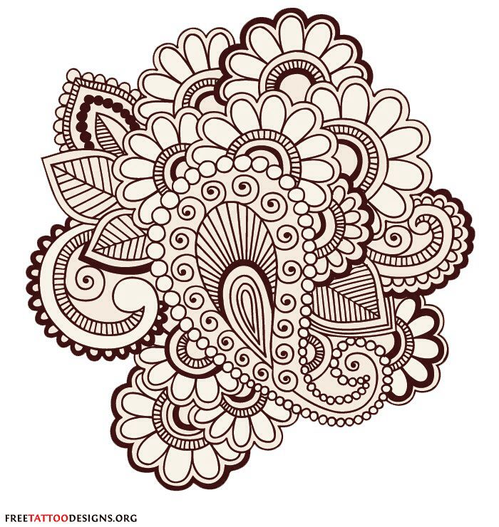 Mehndi Zentangle : Henna design left hand zentangle doodle and coloring