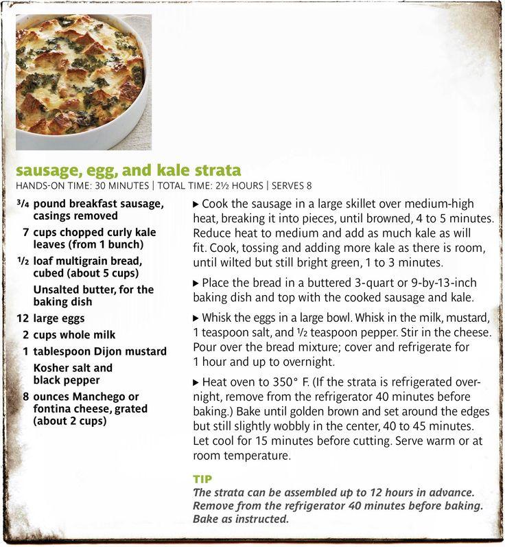 Sausage egg and kale strata...Brunch! | Food | Pinterest