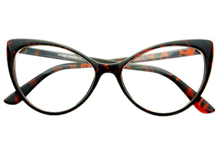 Large Framed Cat Eye Reading Glasses : Clear Lens Retro Large Womens Cat Eye Glasses Frames ...