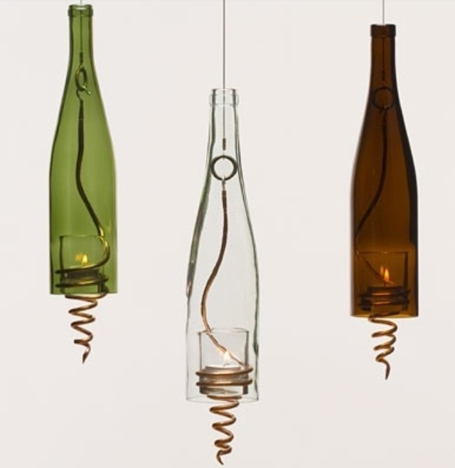 Wine bottle candle holders craft ideas pinterest for Champagne bottle candle holders