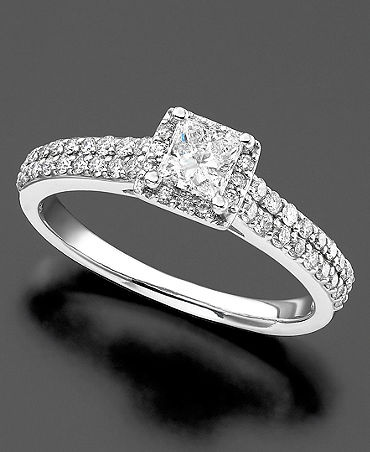 ... Ring, Princess Cut Diamond (34 ct. t.w.) and 14k White Gold | Macy's