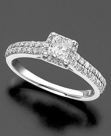 ... Ring, Princess Cut Diamond (34 ct. t.w.) and 14k White Gold | Macy's