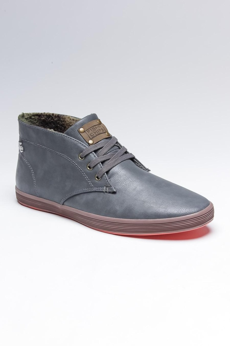 Fish N Chips By Base London Rod - Leather shoes in gray, rubber sole