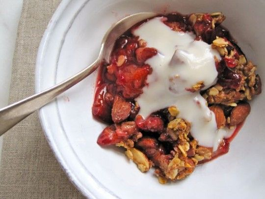Plum almond crisp with cardamom custard | Ohhh I want to eat that | P ...