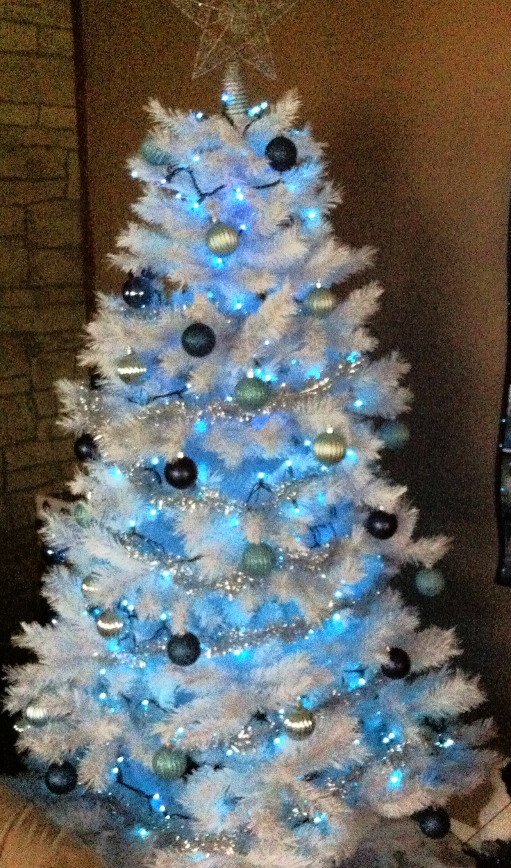White Blue And Silver Christmas Tree Holidays