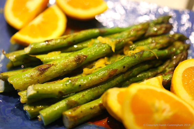 grilled asparagus with lemon zest, lemon and orange juice