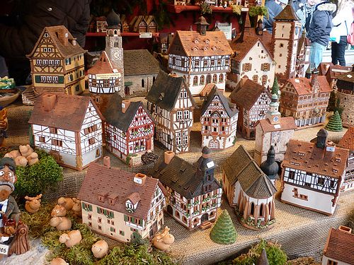 model German town, fachwerk