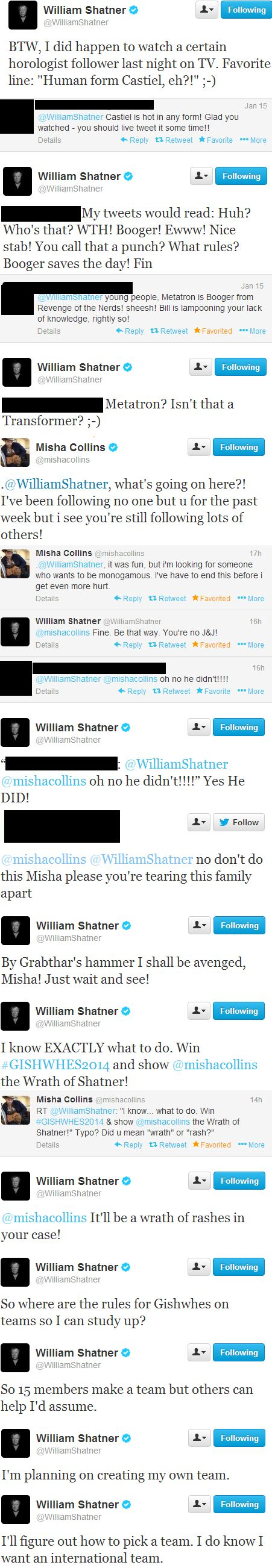 William Shatner and Misha Collins on Twitter; in which Bill watches Supernatural, Misha unfollows him, and Bill swears revenge