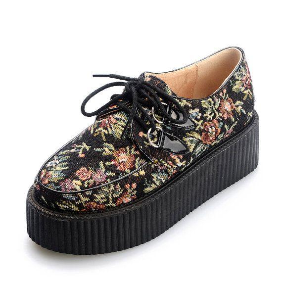 Goth Punk Creepers Wedge chaussures fleur mod le fait main coton