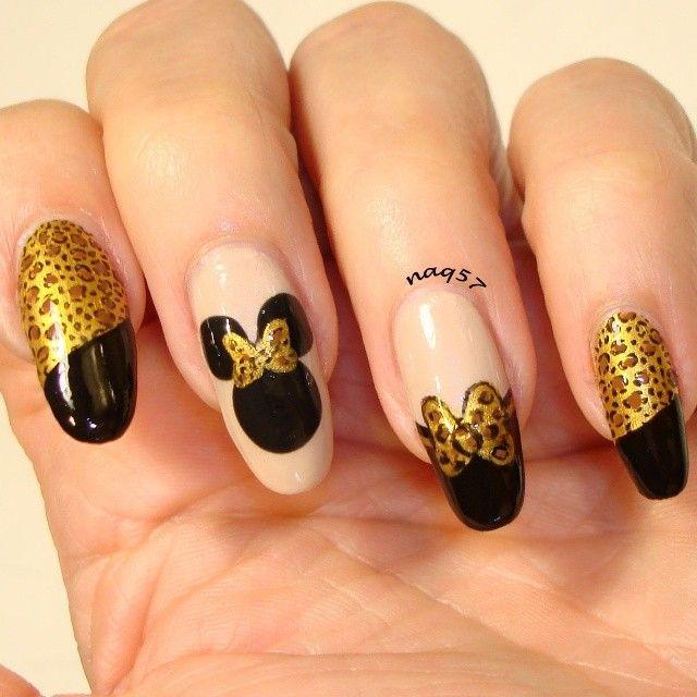 Minnie Mouse gone wild nail art design