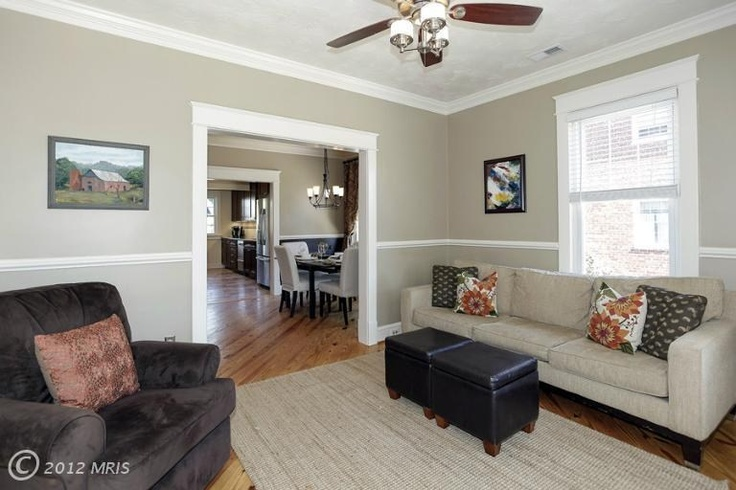 living room color and chair rail idea for the home