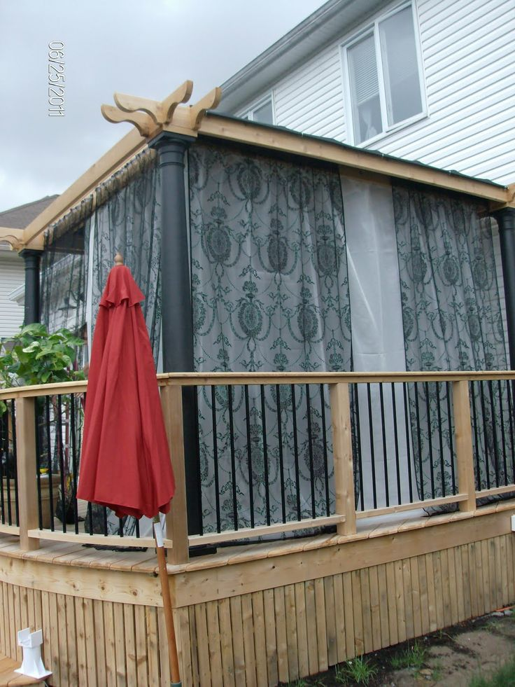 Pergola with curtains   Privacy porch   Pinterest