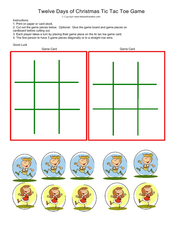 Twelve Days of Christmas Tic Tac Toe | Happy Holidays ! | Pinterest