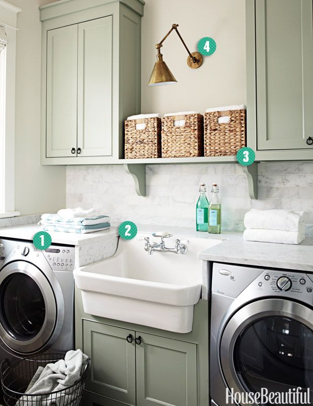 Great farmhouse sink in laundry room. Id rather my washer and dryer ...