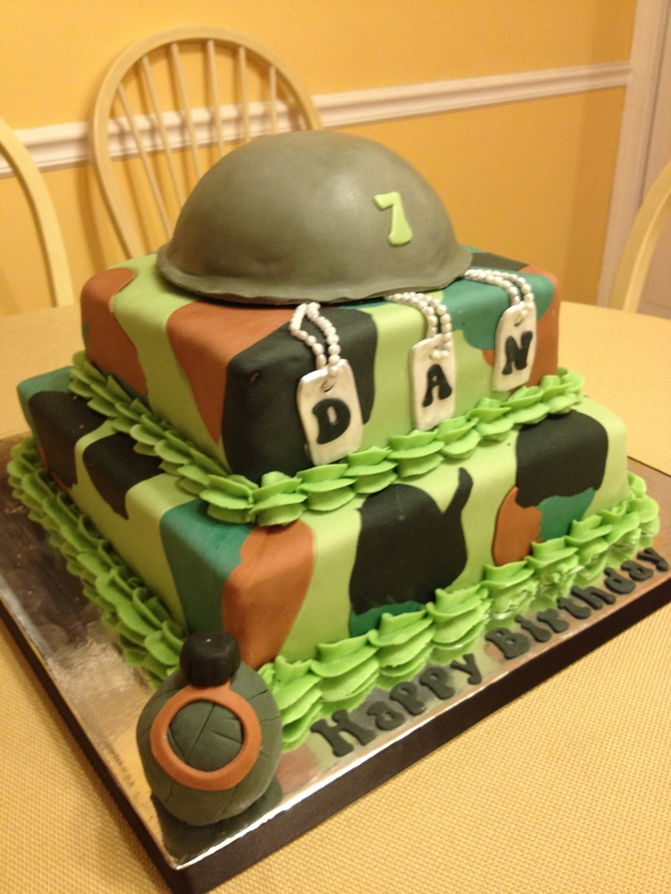 Army cake 7 th birthday kid 39 s party pinterest for Army cake decoration