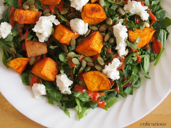 roasted sweet onions sweet potato salad with goat cheese pepitas green ...