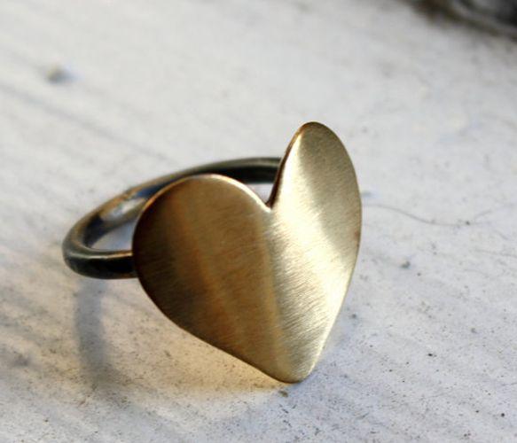 Brass Heart Ring  by Rachel Pfeffer
