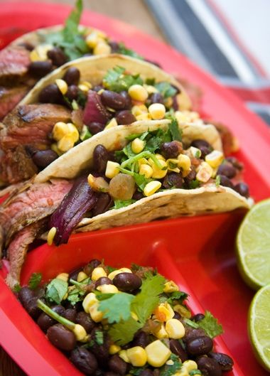 Flank Steak & Grilled Purple Onion Tacos with Corn and Black Bean ...