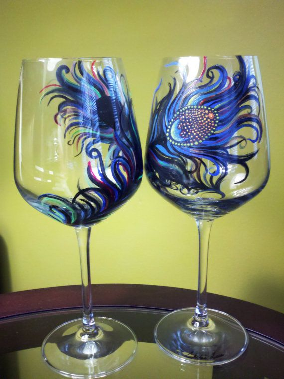 Set Of 2 Hand Painted Wine Glass Original Peacock
