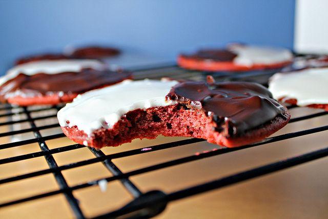 Red Velvet Black and White Cookies | Recipe