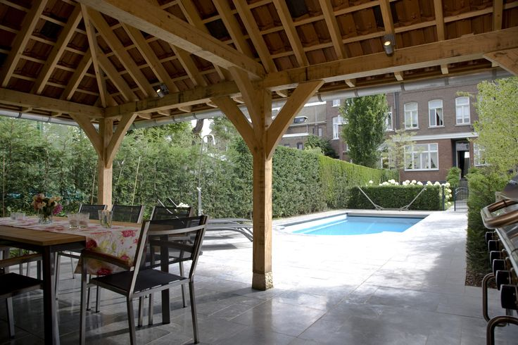 Eiken duurzaam eikenhout eikenhouten bijgebouw bijgebouwen atelier carport garage gastenverblijf - Opslag terras ...