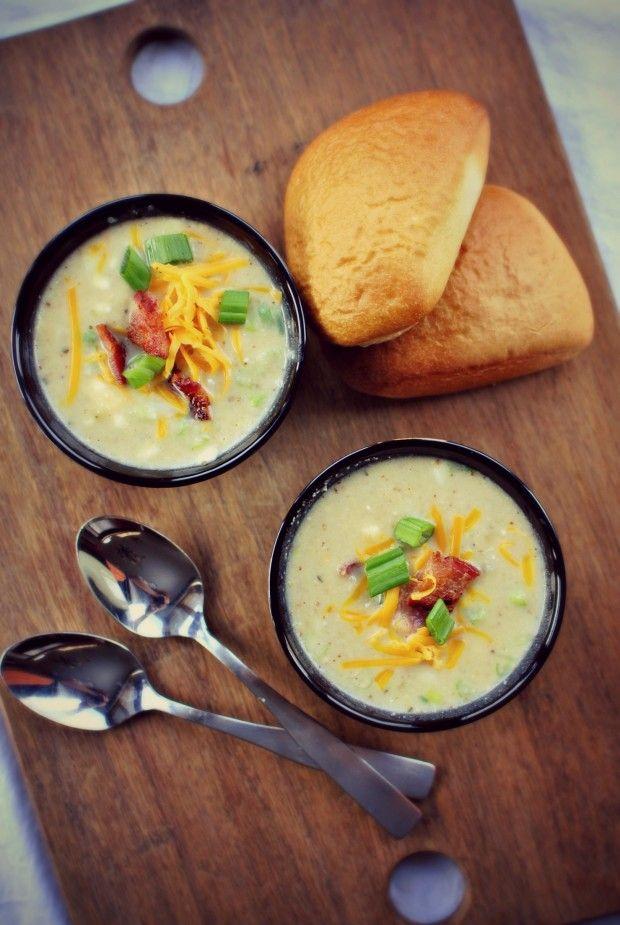 & Creamy Potato Soup with Roasted Cauliflower, Onion, Celery, Garlic ...