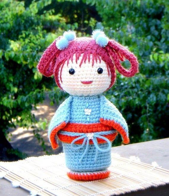 ChoCho Crochet Amigurumi Kokeshi doll pattern / PDF by TGLDdoll