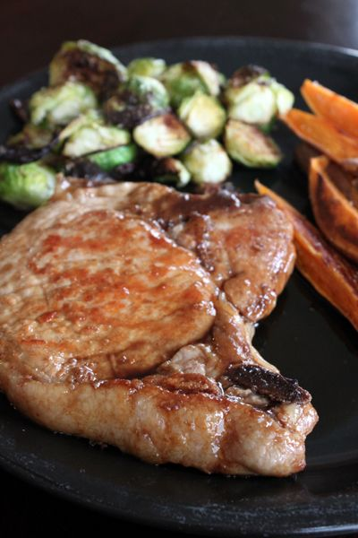 ... Maple Pork Chops - maple syrup, soy sauce, and Worcestershire sauce