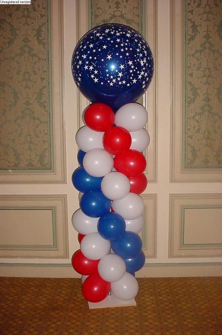 Balloon column surprise party pinterest for Balloon column decoration