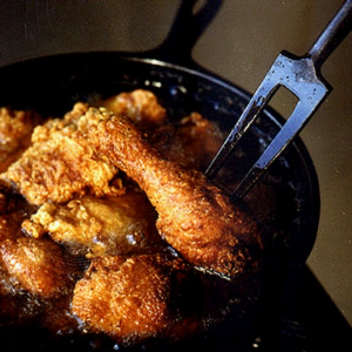 , fries chicken periodically to reseason her cast-iron skillet ...
