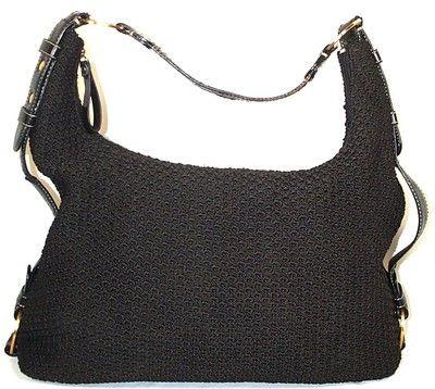 The Sak Black Crochet Handbag : THE SAK Purse CROCHET BLACK zip up SHOULDER Bag HOBO Purse MEDIUM M