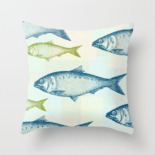Vintage fish throw pillow by jacqueline maldonado for Fish throw pillows