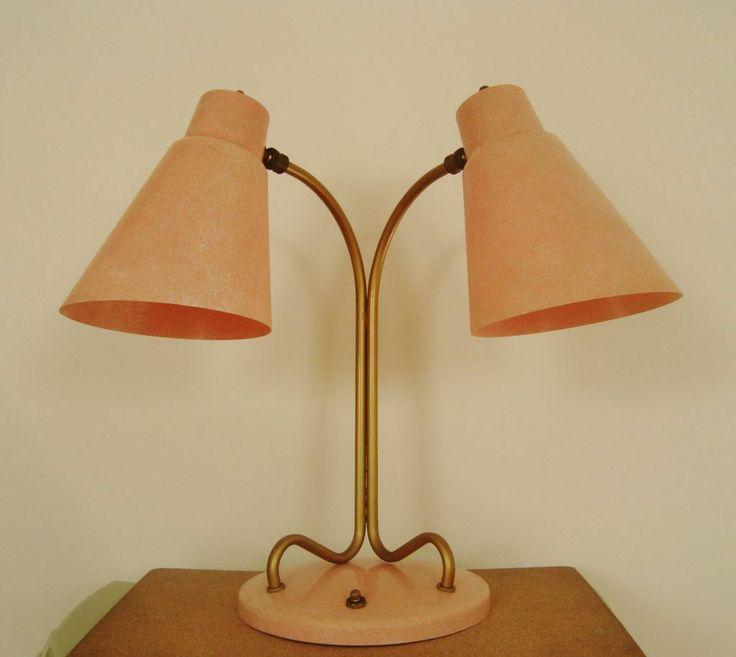 Mid century modern desk more - Fabulous Mid Century Modern Salmon Desk Table Lamp W